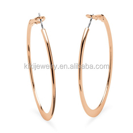 Fashion large hoop earings in rose gold plated with surgical steel posts