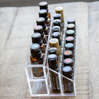 Acrylic Essential Oils Organizer Compartments Display Case Fits On Bathroom Counter