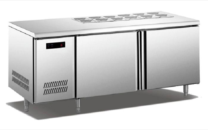 guangzhou 250l attrezzature da cucina in acciaio inox contatore banco di lavoro frigorifero