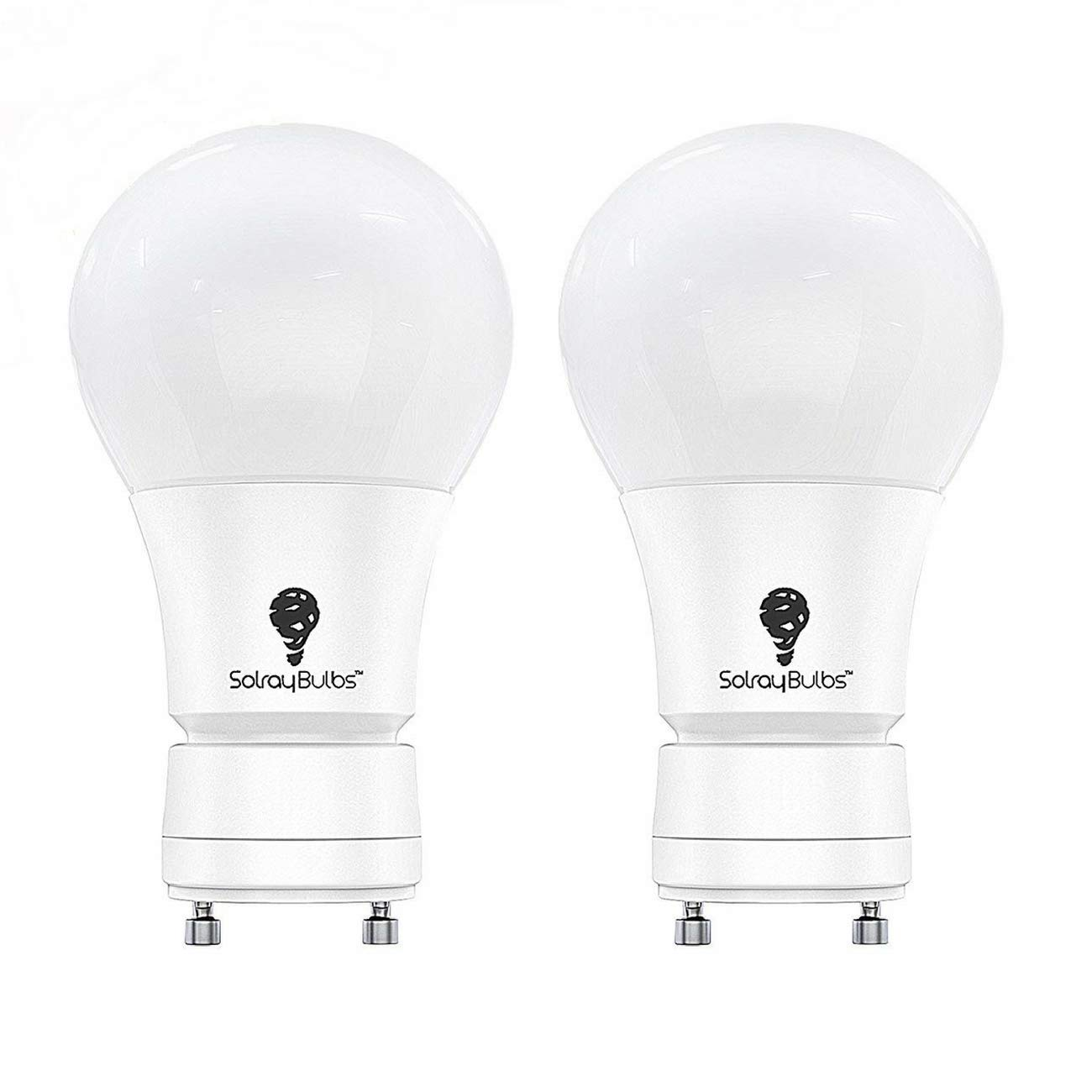 Solray LED GU24 Base Dimmable A19 Shape, 9W (60-Watt Equivalent) Fully Dimmable 4000K (Cool White/Daylight ) UL-Listed 2 Pack