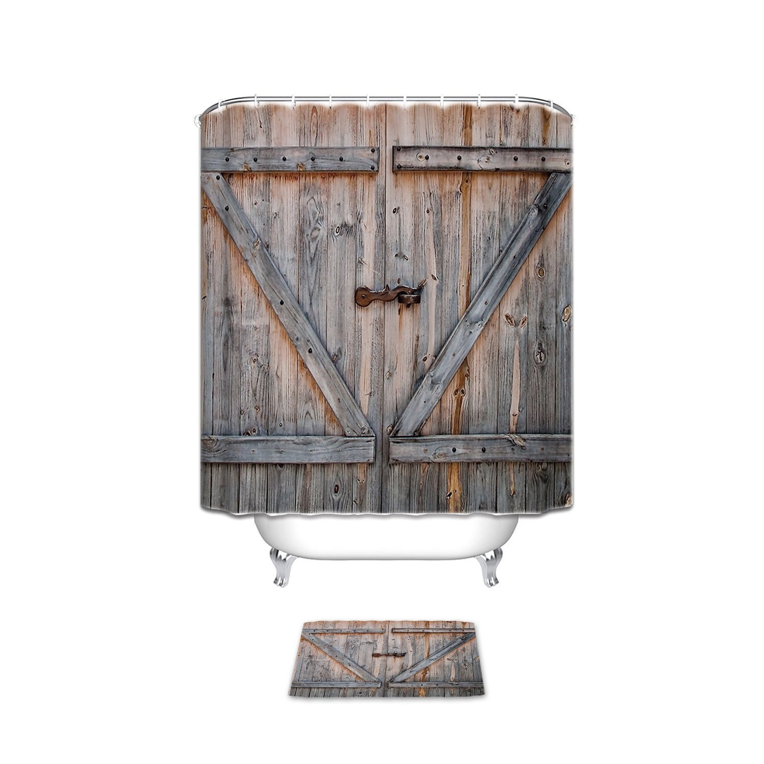 Vintage Rustic Wood Theme Polyester Fabric Bathroom Set Shower Curtain With Bath Mats Rugs Country