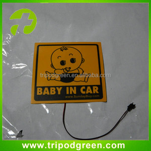 Green el products,low consumption long life flashing logo led el car sticker