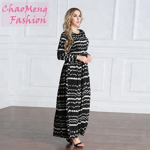 5077# Comfortable Stripe abaya in dubai modest Jersey dresses for muslim, As shown