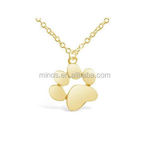 Stainless Steel Gold Plated Dog Paw Print Necklace For Dog Lovers