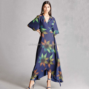 6e477f095754c Irregular Kimono Floral Print Boho Dress Casual Maxi Dresses Long Women  Beach Vestidos