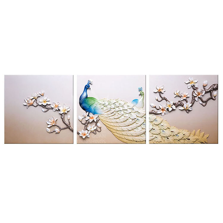 High Quality Telesthesia Peacock Relief Wall Art Decorative <strong>Picture</strong> 3 Panels