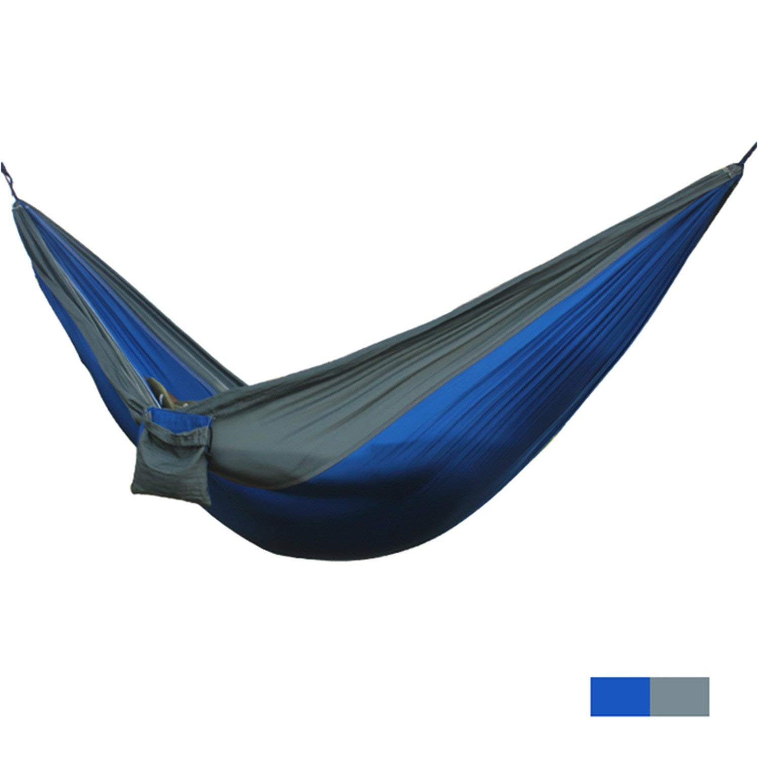 Mandaartins 24 Color 2 People Portable Parachute Hammock Camping Survival Garden Flyknit Hunting Leisure Hamac Travel Double Person Hamak,blue grey