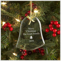 Decorative Engraving Glass Bell Ornaments For 2015 Christmas