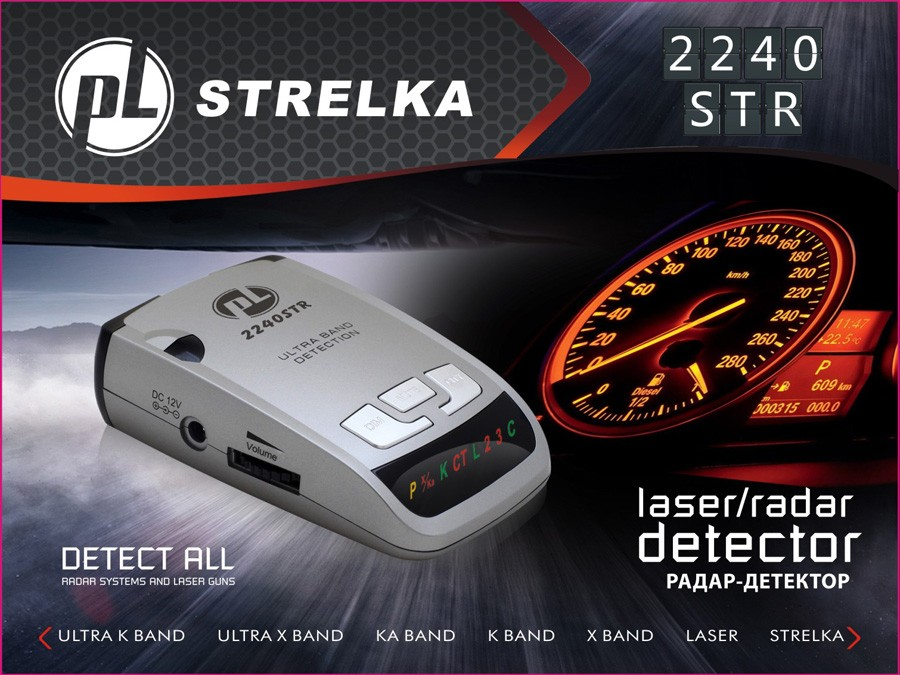 Car anti radar detector STR2240 with X.K,Ka,Ultra-X,Ultral-K,Strelka and 360 degree laser detection