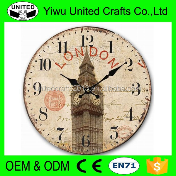 "12"" Retro Vintage Lighthouse Tower in the Sea Country Tuscan Style Non-Ticking Silent Wooden Wall Clock Art Decoration"