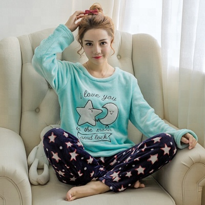 Gros dames pyjamas set manches longues sexy animal flanelle pyjamas