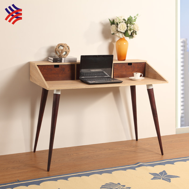 KD Oak color mdf wooden top scandinavian furniture solid wood computer desk computer table