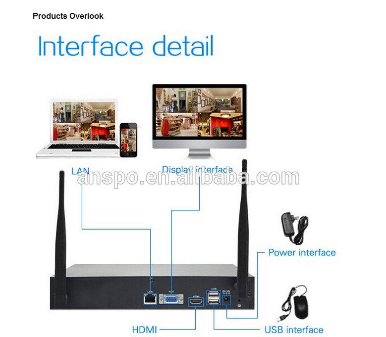 1080p ip wireless wired camera free software WIFI cctv system support wired connect 200m distance security surveillance