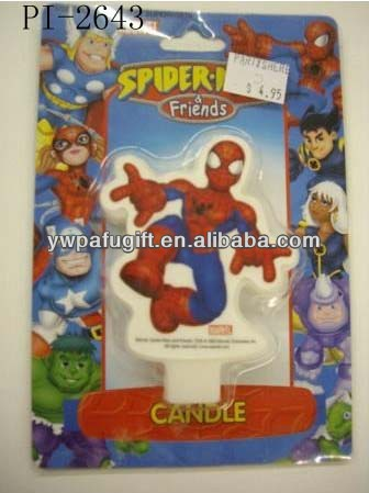 Grafts spiderman shaped wax candle for birthday party