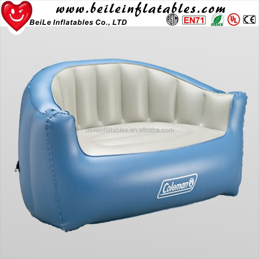 Custom PVC/TPU blue and white inflatable chesterfield sofa