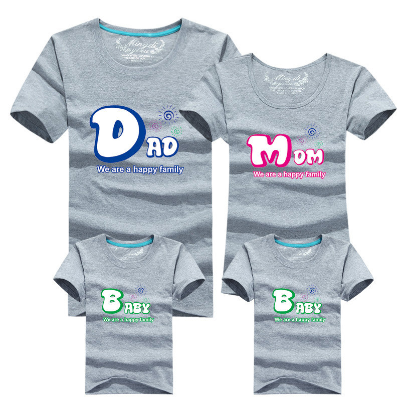 1piece Fashion Family Matching Outfits Tshirt 16 Color Clothes For matching family clothes mother father Baby