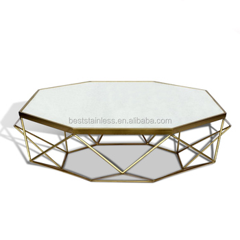 Modern Design Coffee Table Stainless Steel Gold Marble Coffee