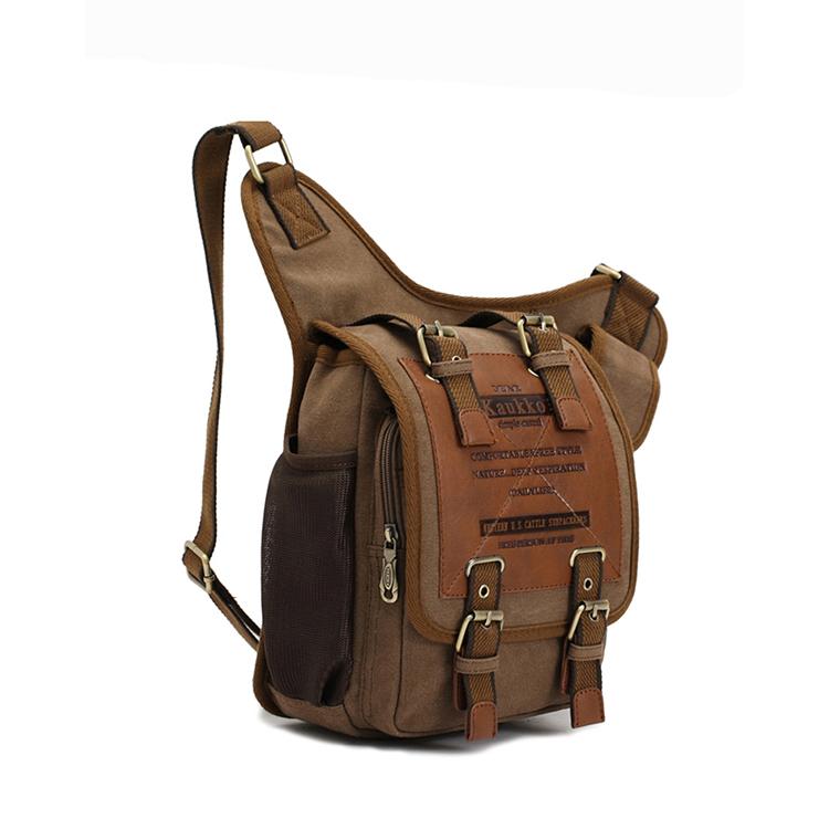 Mens Vintage Canvas Leather Patchwork Shoulder Chest Bag Underarm Daypack Military Messenger Sling Bag