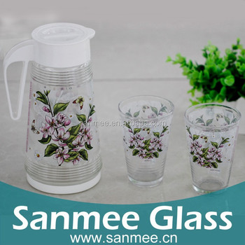 Pink Flower Design Heat Transfer Printed 2l Glass Jug Set