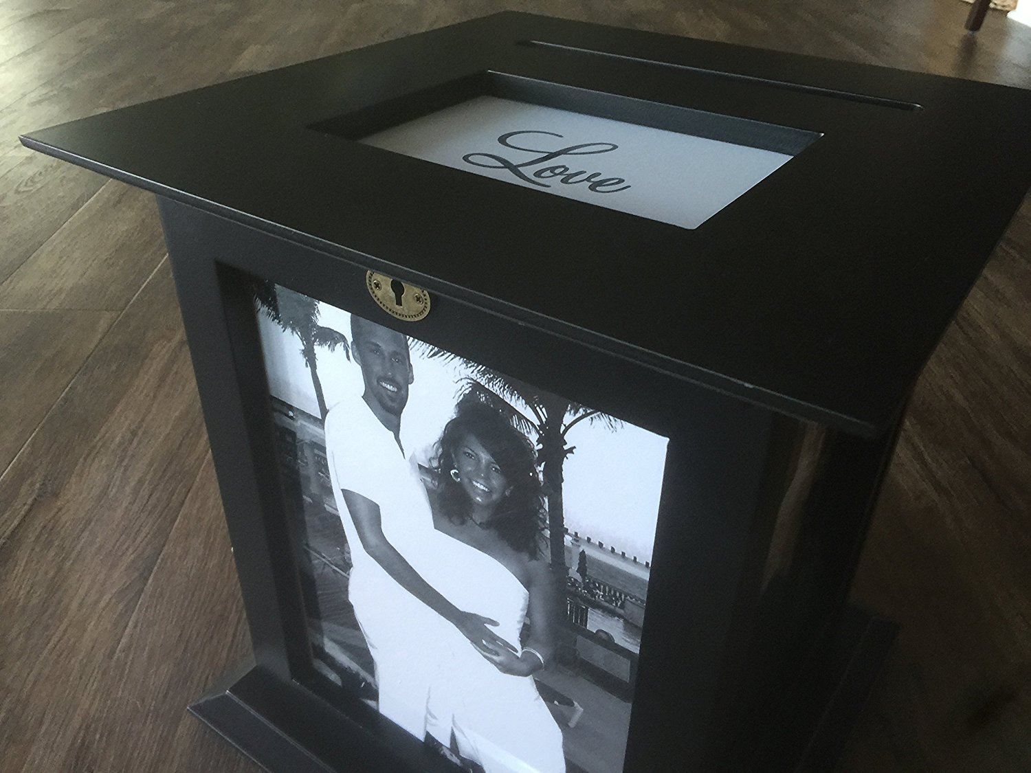 Black Wedding Card Box with LOVE Engraved Plate Included