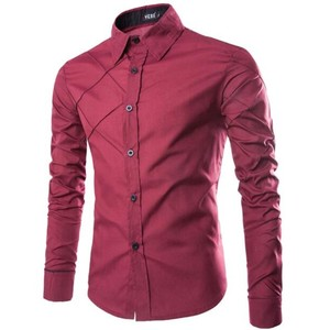 Men's Slim Formal Shirts Fashion Military Long Sleeve Cotton Shirt Work Wear Casual Tops Plus Size M-3XL E1413