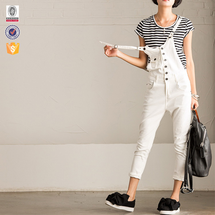 Kinds of material customized Elegant casual lady cotton suspender jeans pants