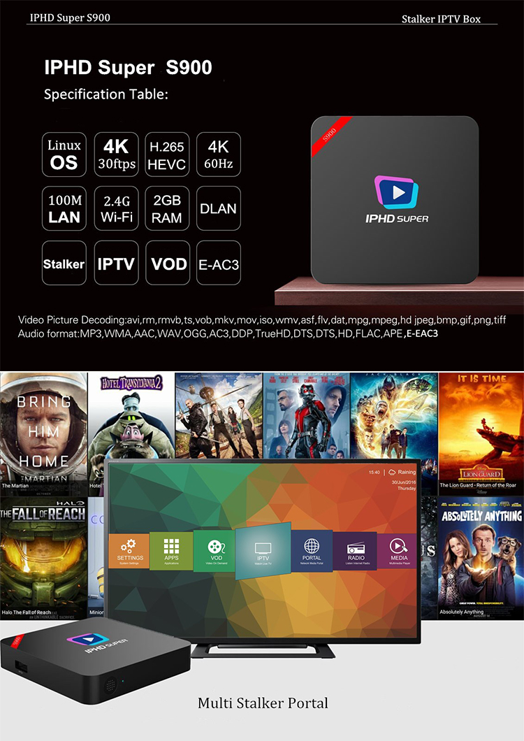 Box iptv france S900 Stalker IP TV france 2800 live channels 3000 VODS iptv france abonnement channels H.265HEVC linux TV Box