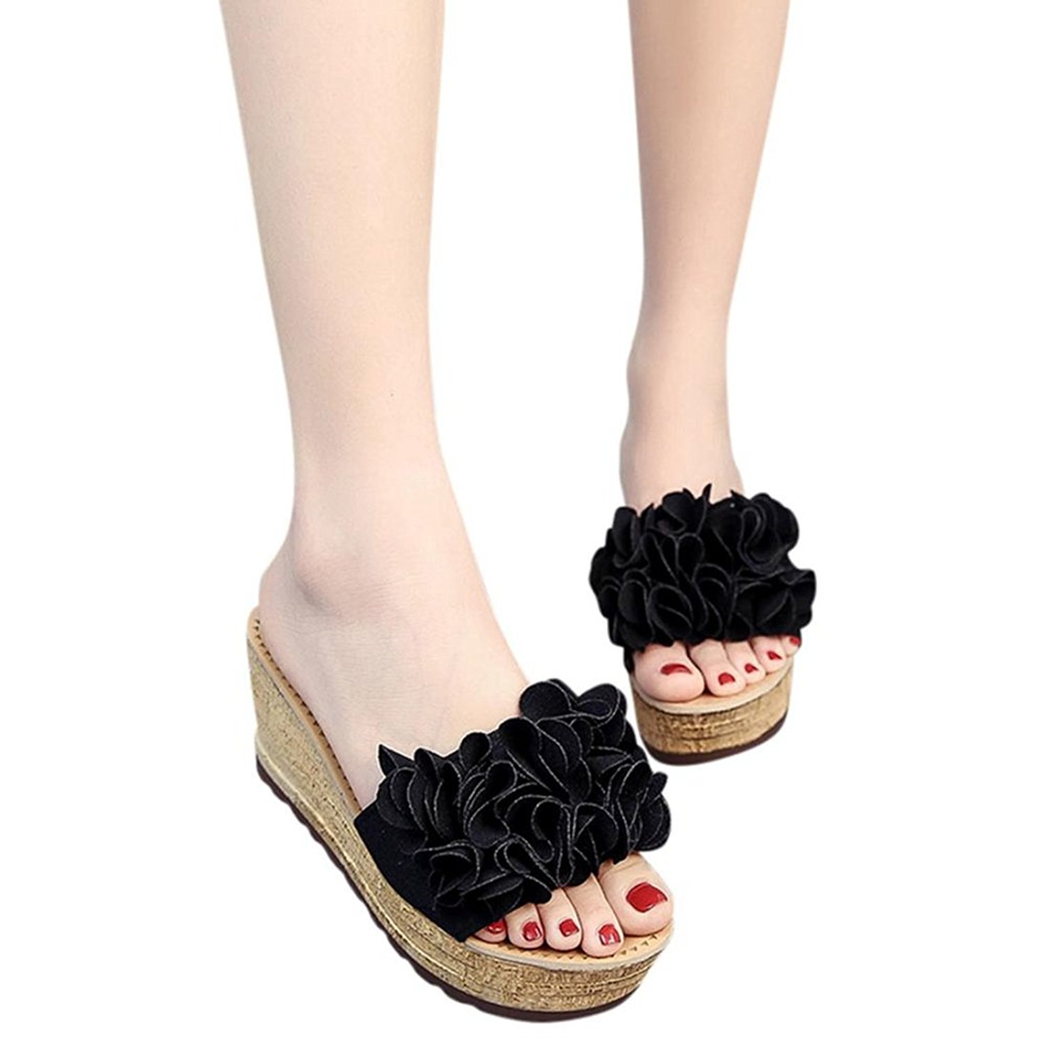 c6c5374350c Get Quotations · Besde Floral Wedgies Slippers Women Wedge Heel Sandals  Wedge Sandals Shoes