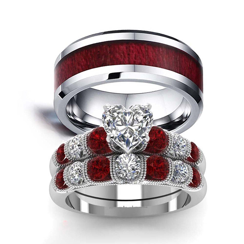 d952e4199e LOVERSRING Couple Ring Bridal Set His Hers White Gold Stainless Steel 10k Wedding  Ring Band Set