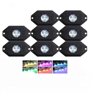 Factory Price 8 Pods Kit Color Changing Red Blue Yellow Green White 9W Mini 12V Car RGB Off Road Led Rock Lights