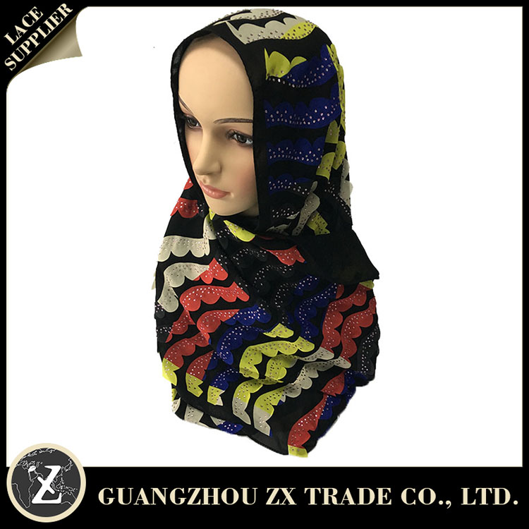 Full color shimmer glitter long neckwear muslim cotton embroidery scarf hijab