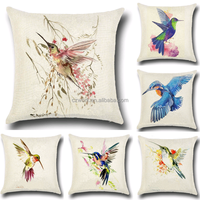 Hummingbird design 3D digital printed cotton linen cushion cover in house