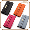 Hot Sale Women Genuine Full Grain Pebbled Leather Branded Long Clutch Wallet with gold lock fit phone case