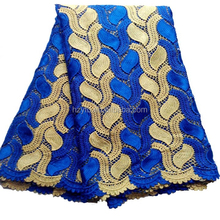 Bangkok garments fashion design metallic thailand lace fabrics royal blue with gold chemical lace professional african cord lace