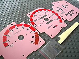 92 93 94 95 Honda Civic EX LX SI Automatic Transmission Cluster Gauges Face Red Pink