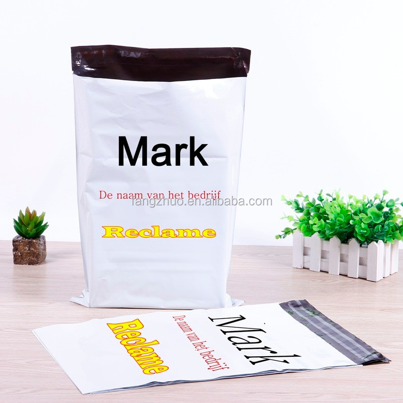 hot sale white with logo printing plastic mail bag, Advertisement courier plastic bag factory, logo plastic post bag factory