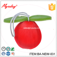 BA-NEW-031 new style products 2016 arrival Beautiful Casual fruit shaped mesh bath puff for hammam scrub for body shower sponge