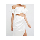 Fashion Off-the-shoulder neckline white chiffon crop top and skirt