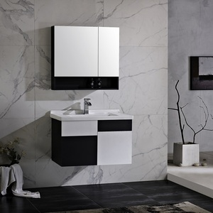 Modern luxury style with marble painting poland high quality cheap wallmounted cabinet black color sink wood MDF bathroom vanity