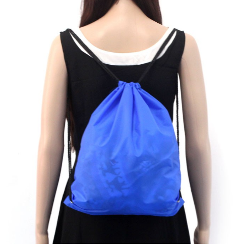 Customized solid color polyester bundle pocket with travel outdoor bag Drawstring back pocket