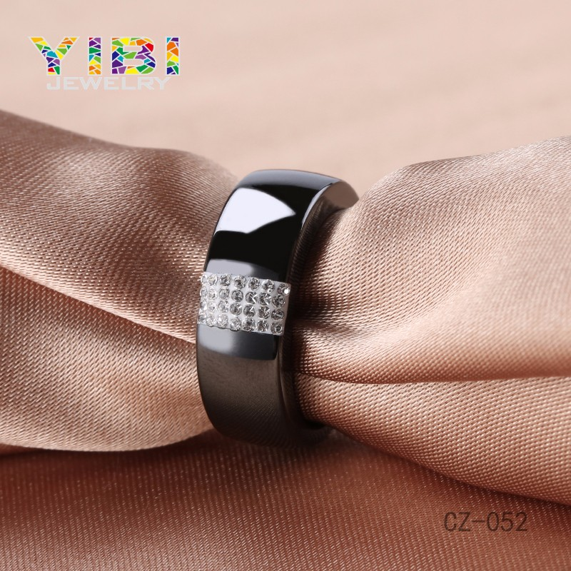 Fashionable Modern Design Black Jewelry Mud CZ Ceramic Ring