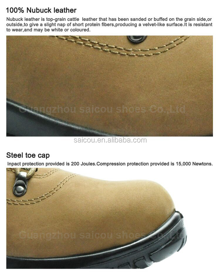 Good quality nubuck leather steel toe safety boot