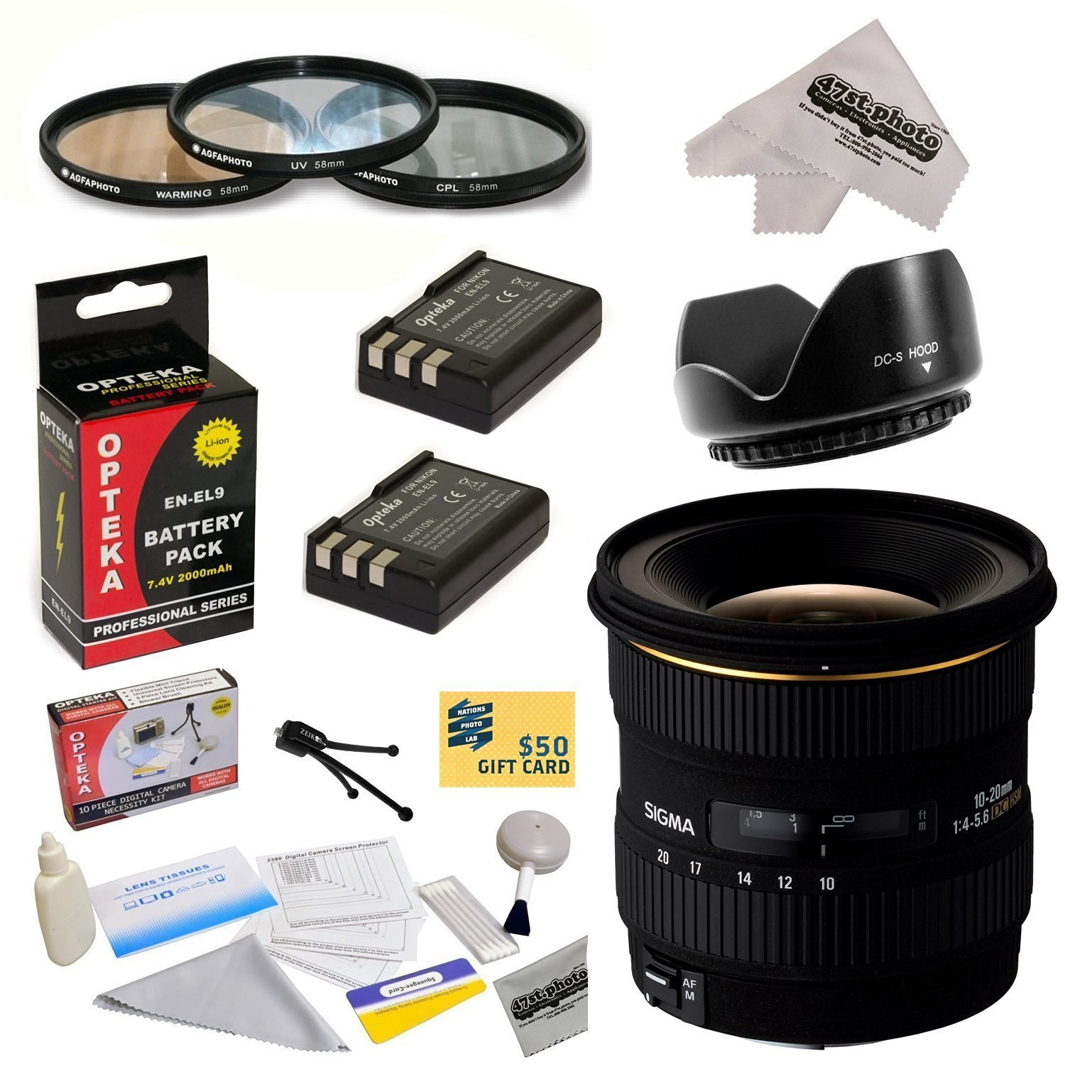Sigma 10-20mm f/4-5.6 EX DC HSM Autofocus Lens For the Nikon D40 D40x D60 D3000 D5000 - Includes 77MM 3 Piece Pro Filter Kit (UV, CPL, FLD) + Flower Lens Hood + 2 Replacement Nikon EN-EL9 Batteries 2000MAH Each 4000MAh in Total + Deluxe Lens Cleaning Kit + LCD Screen Protectors + Mini Tripod +