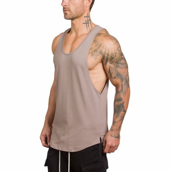OEM custom mens tank top gym loose fit muscle cut stringer tank tops  wholesale