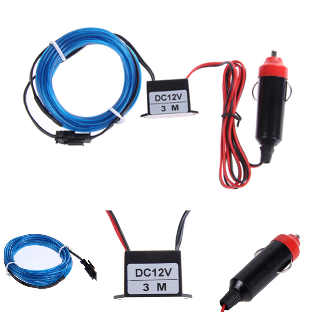 12v 3m el wire neon led light rope car auto blue led light decor light cigarette controller. Black Bedroom Furniture Sets. Home Design Ideas