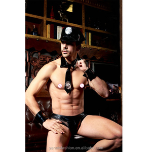 (4PC hat +tie +wrist band +short)Man Police Sop Traffic Cop Costume Halloween Sexy Cop Outfit Man Cosplay Erotic Police Costumes