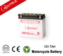 motorcycle spare part 12V 7AH dry charged moto battery