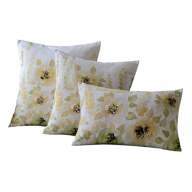 Mysky Home Set Of 3 Fl Design Print Cushion Covers Sofa Chair Seat Decor Throw