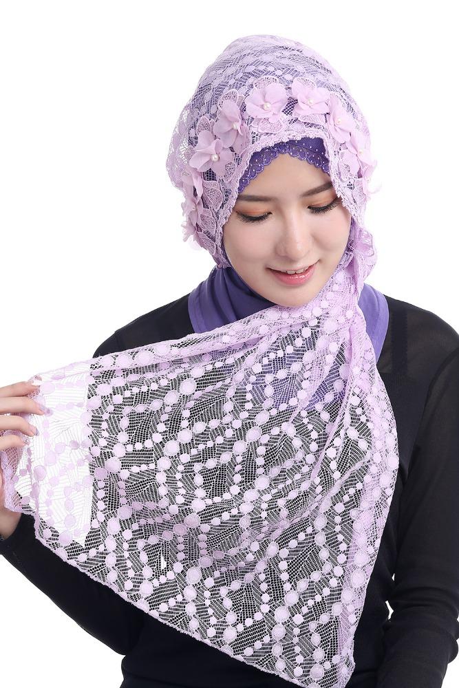 Fille Hijab Musulman Islamique De Mode Dentelle Foulards Châles Pour Femmes  Wrap