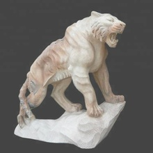 Decoration outdoor life size stone carving marble tiger sculpture